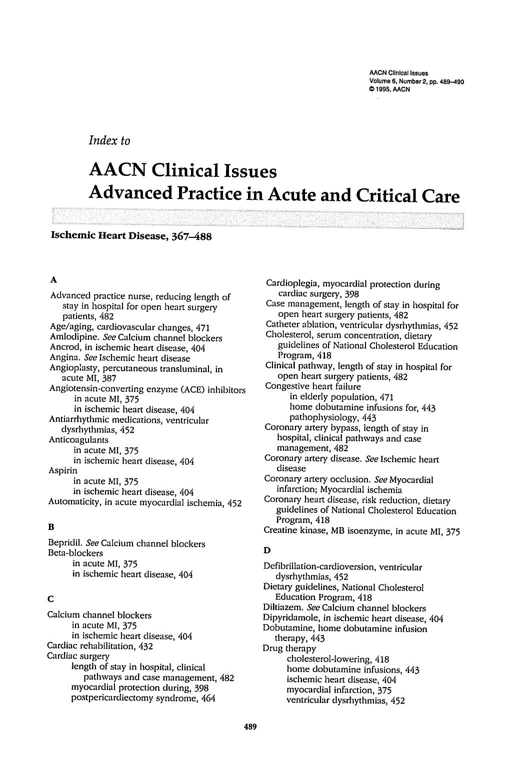 Korice knjige Index to AACN Clinical Issues Advanced Practice in Acute and Critical Care