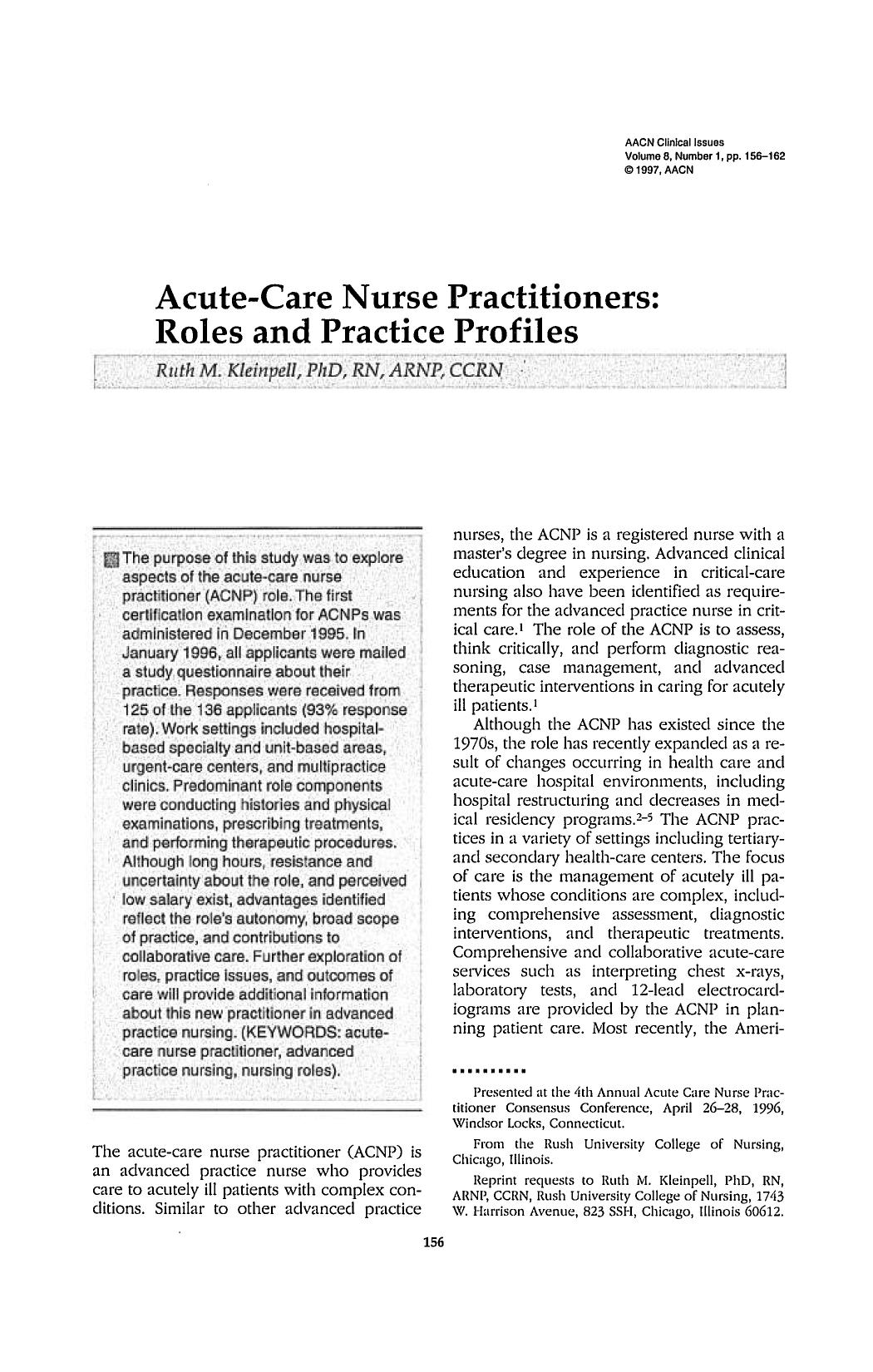 Book cover Acute-Care Nurse Practitioners