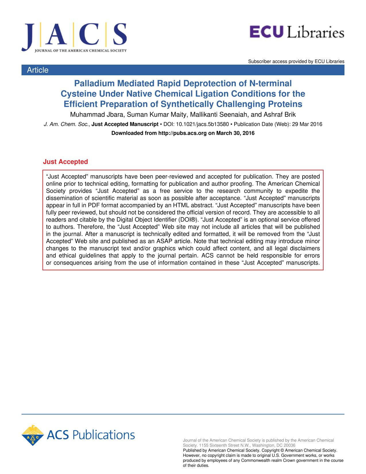 Portada del libro Palladium Mediated Rapid Deprotection of N-terminal Cysteine Under Native Chemical Ligation Conditions for the Efficient Preparation of Synthetically Challenging Proteins