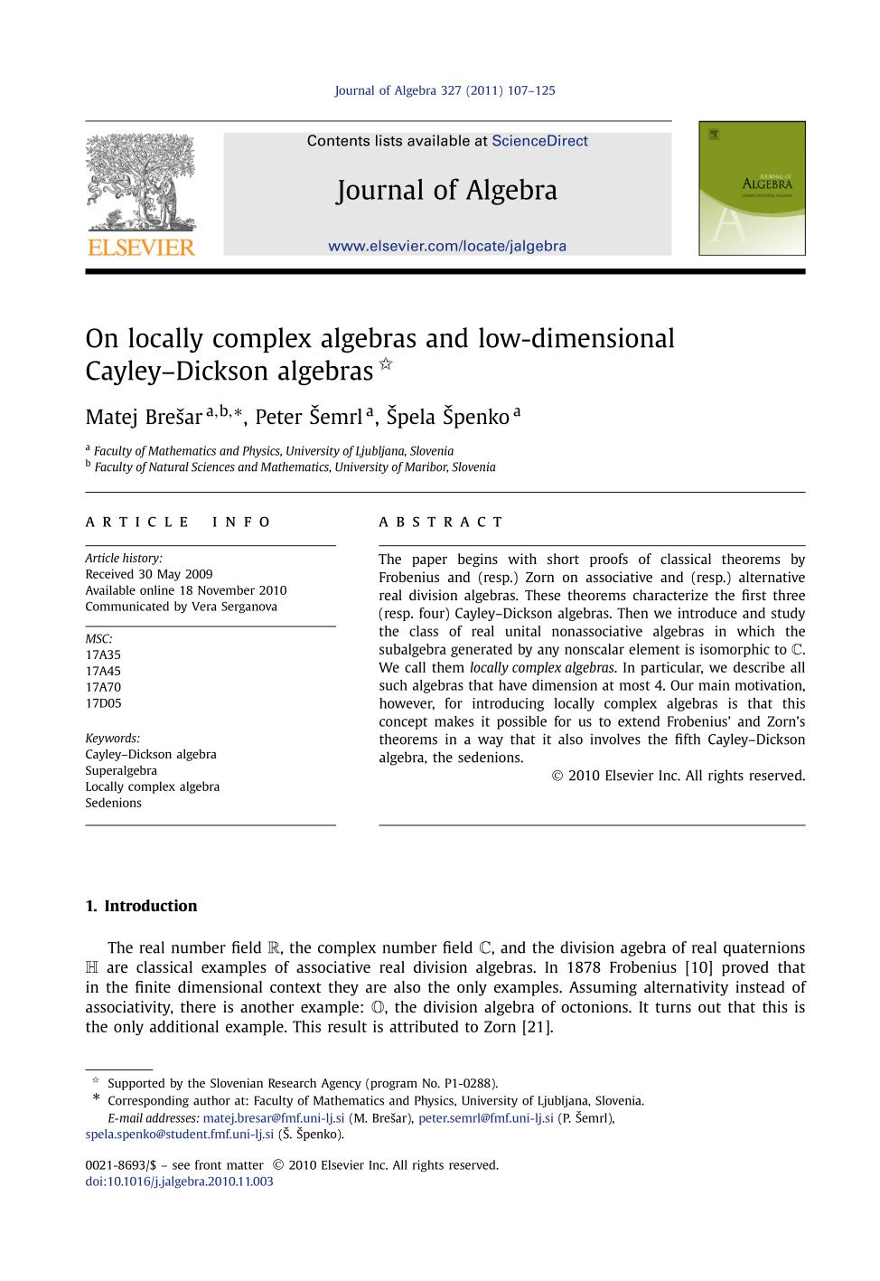 Book cover On locally complex algebras and low-dimensional Cayley–Dickson algebras