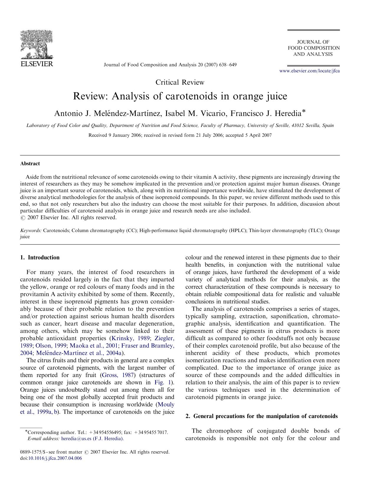 書籍の表紙 Review: Analysis of carotenoids in orange juice