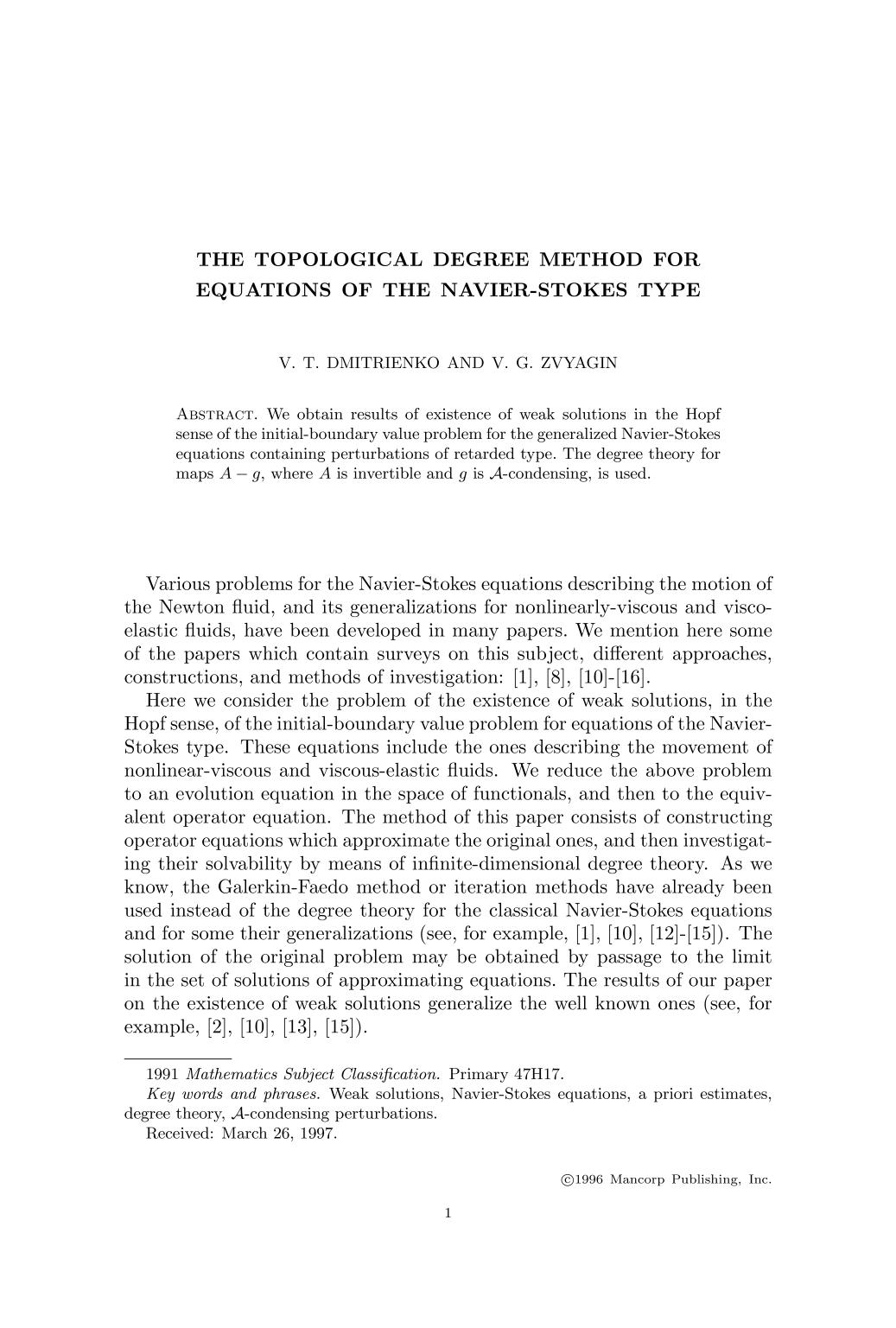 पुस्तक आवरण The topological degree method for equations of the Navier-Stokes type