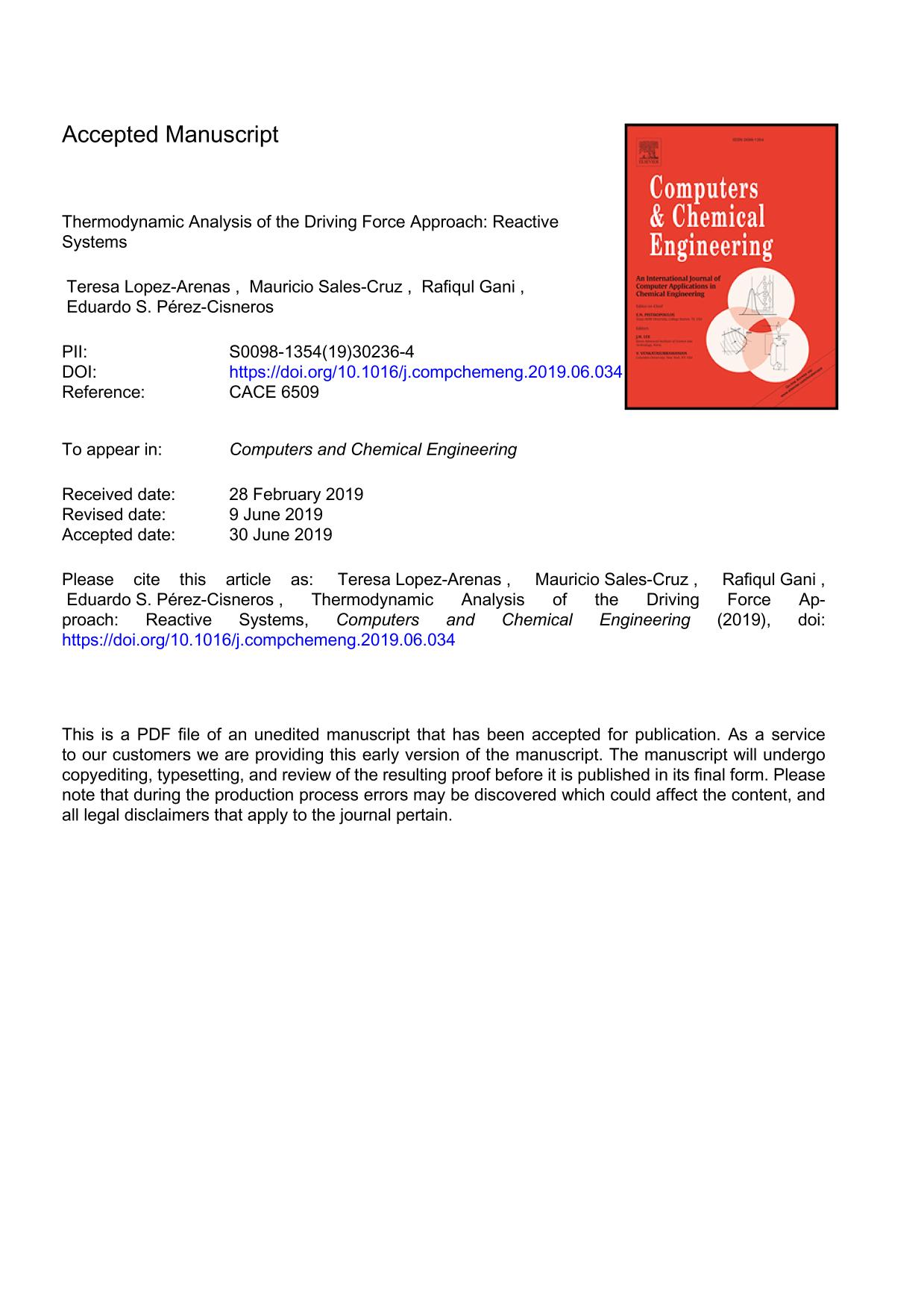 Book cover Thermodynamic Analysis of the Driving Force Approach: Reactive Systems