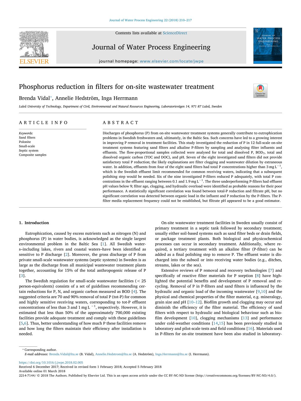 A capa do livro Phosphorus reduction in filters for on-site wastewater treatment