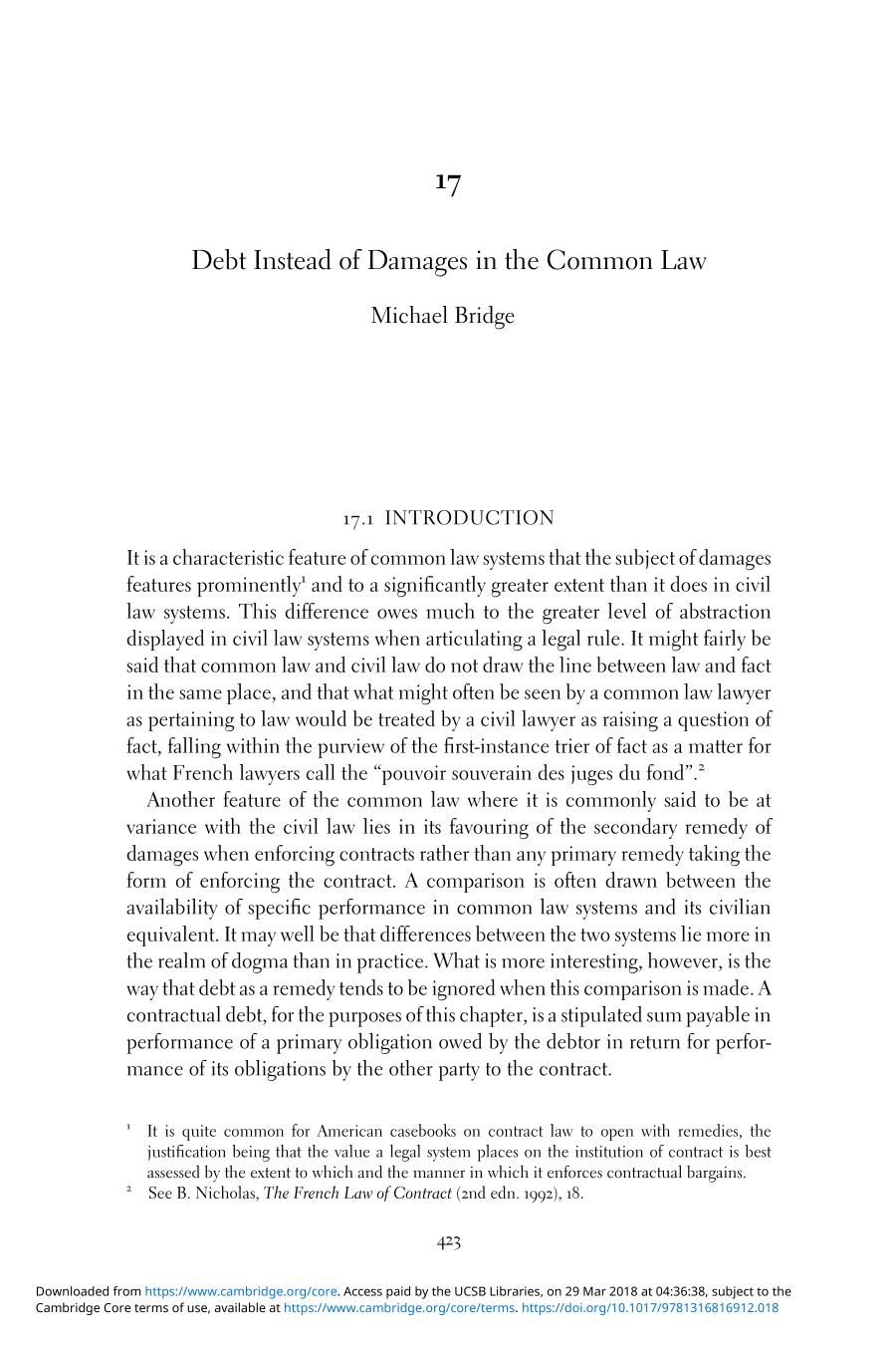封面 Chinese Contract Law (Civil and Common Law Perspectives) || Debt Instead of Damages in the Common Law
