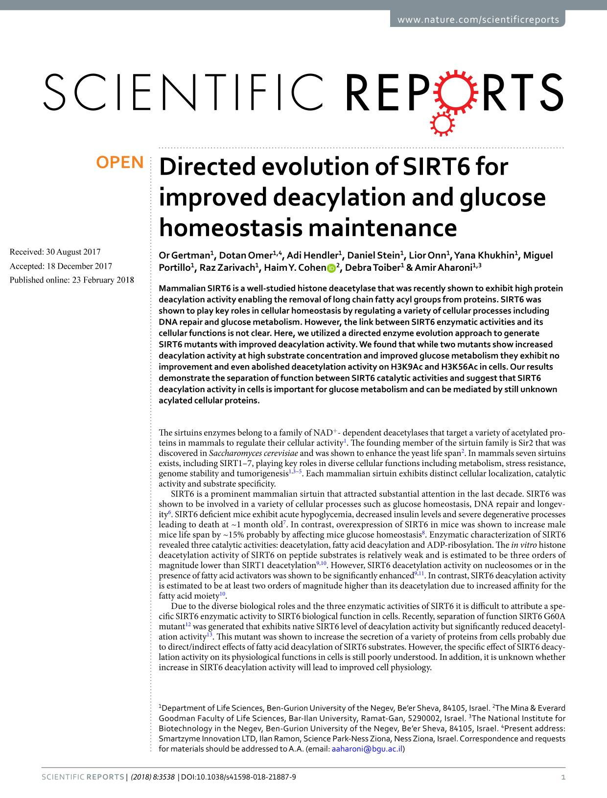 Portada del libro Directed evolution of SIRT6 for improved deacylation and glucose homeostasis maintenance