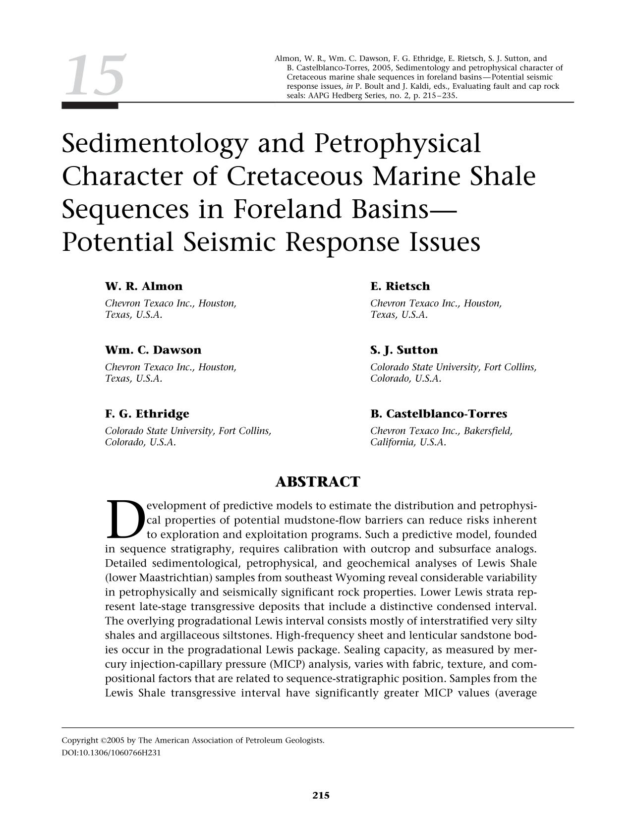 Korice knjige Sedimentology and petrophysical character of Cretaceous marine shale sequences in foreland basins - potential seismic response issues