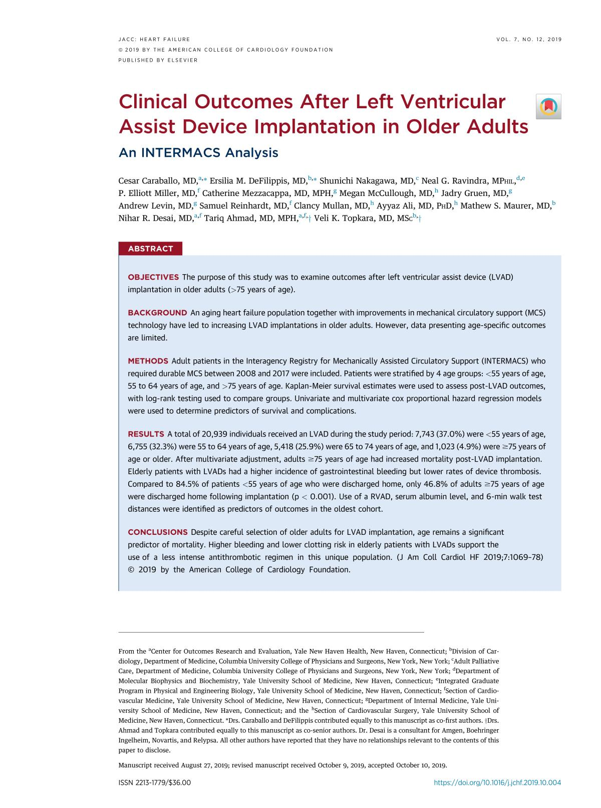 Обкладинка книги Clinical Outcomes After Left Ventricular Assist Device Implantation in Older Adults