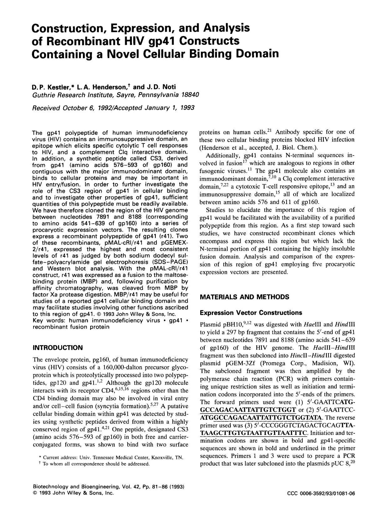 Portada del libro Construction, expression, and analysis of recombinant HIV gp41 constructs containing a novel cellular binding domain