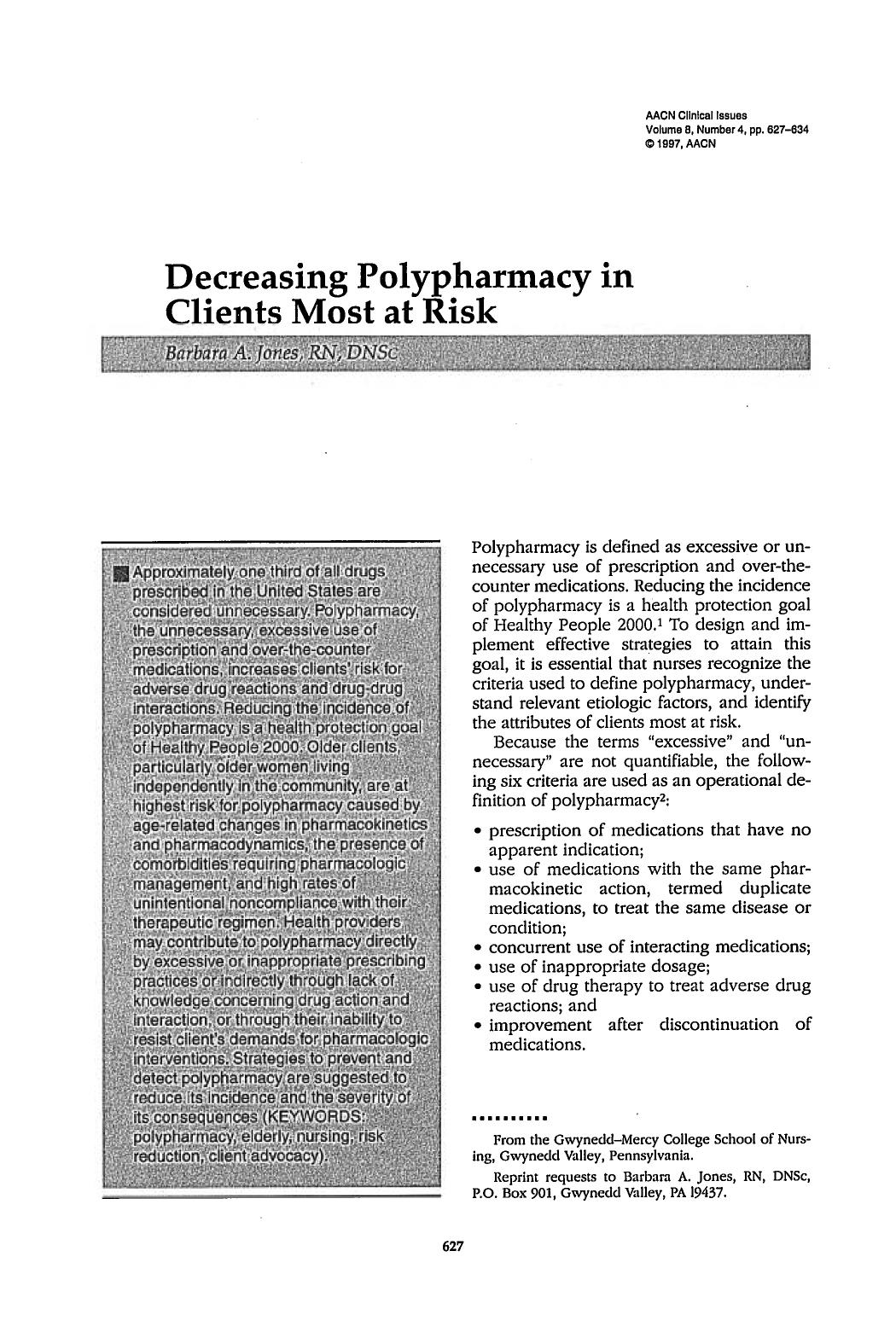 Book cover Decreasing Polypharmacy in Clients Most at Risk