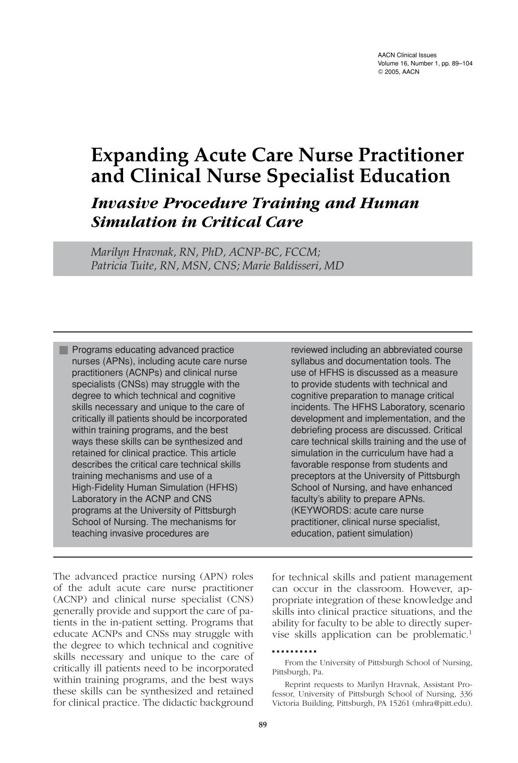 Buchcover Expanding Acute Care Nurse Practitioner and Clinical Nurse Specialist Education