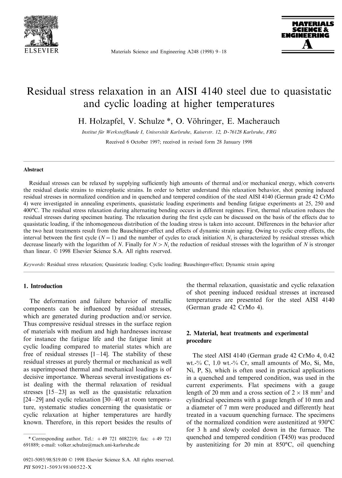 Copertina Residual stress relaxation in an AISI 4140 steel due to quasistatic and cyclic loading at higher temperatures