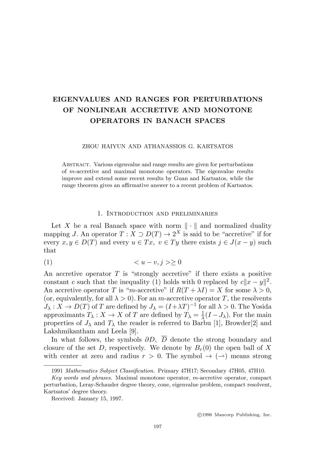封面 Eigenvalues and ranges for perturbations of nonlinear accretive and monotone operators in Banach spaces