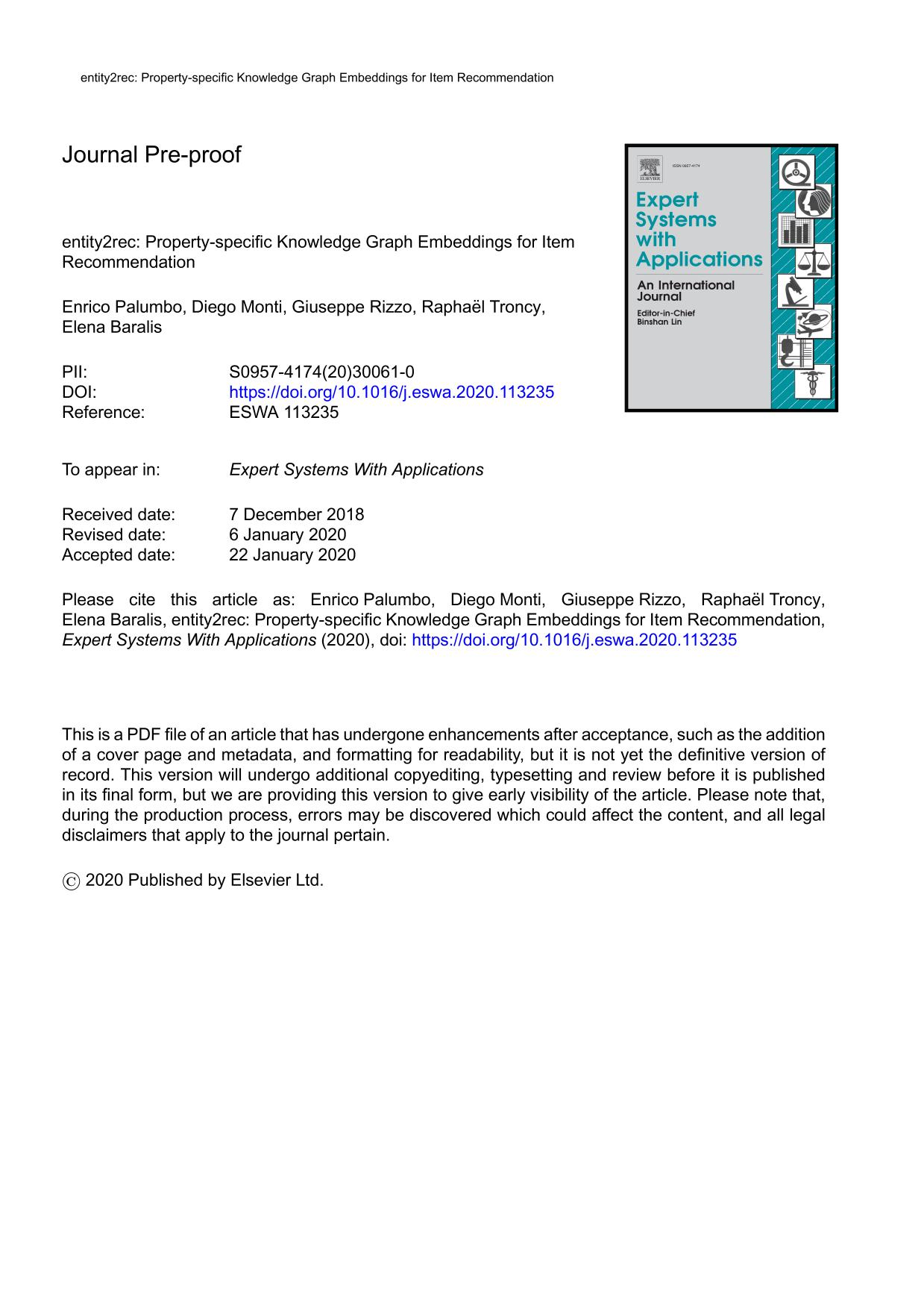 Book cover entity2rec: Property-specific Knowledge Graph Embeddings for Item Recommendation