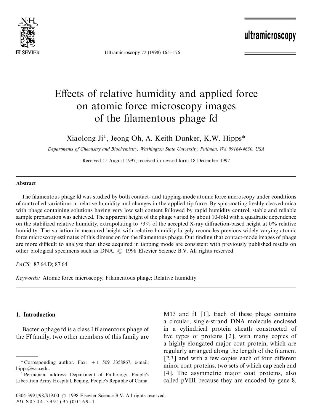 Okładka książki Effects of relative humidity and applied force on atomic force microscopy images of the filamentous phage fd
