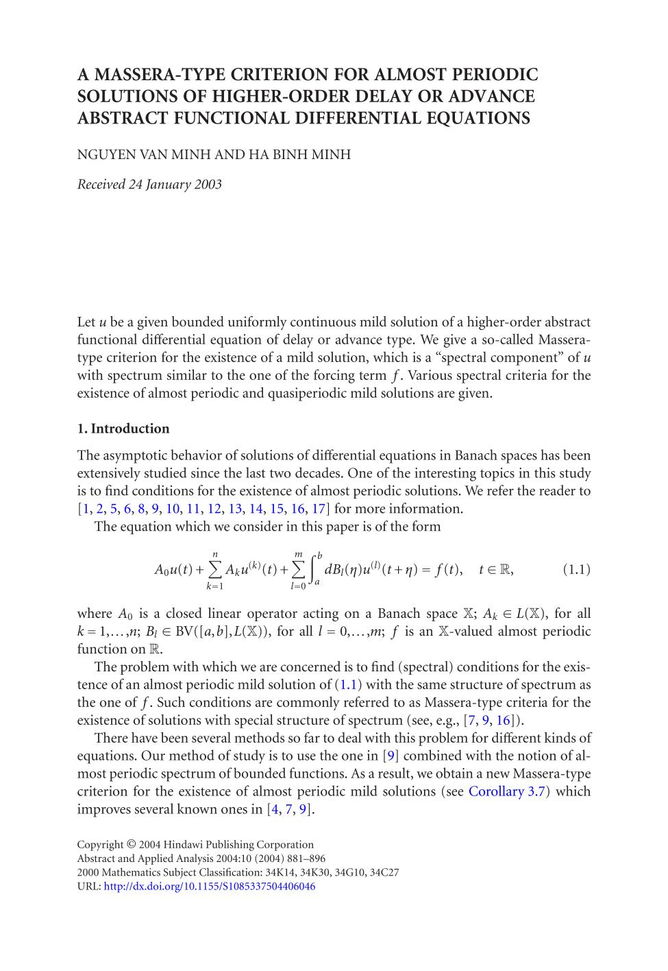 Book cover A Massera-type criterion for almost periodic solutions of higher-order delay or advance abstract functional differential equations
