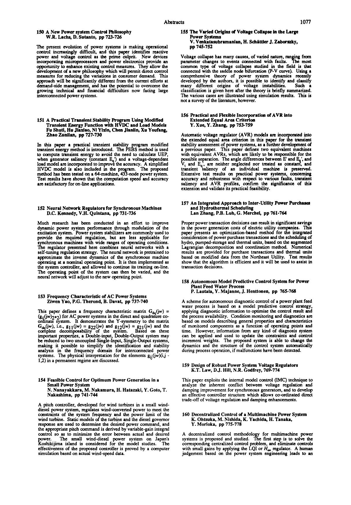Sampul buku 157 An integrated approach to inter-utility power purchases and hydrothermal scheduling: Lan Zhang, P.B. Luh, G. Merchel, pp 761–764