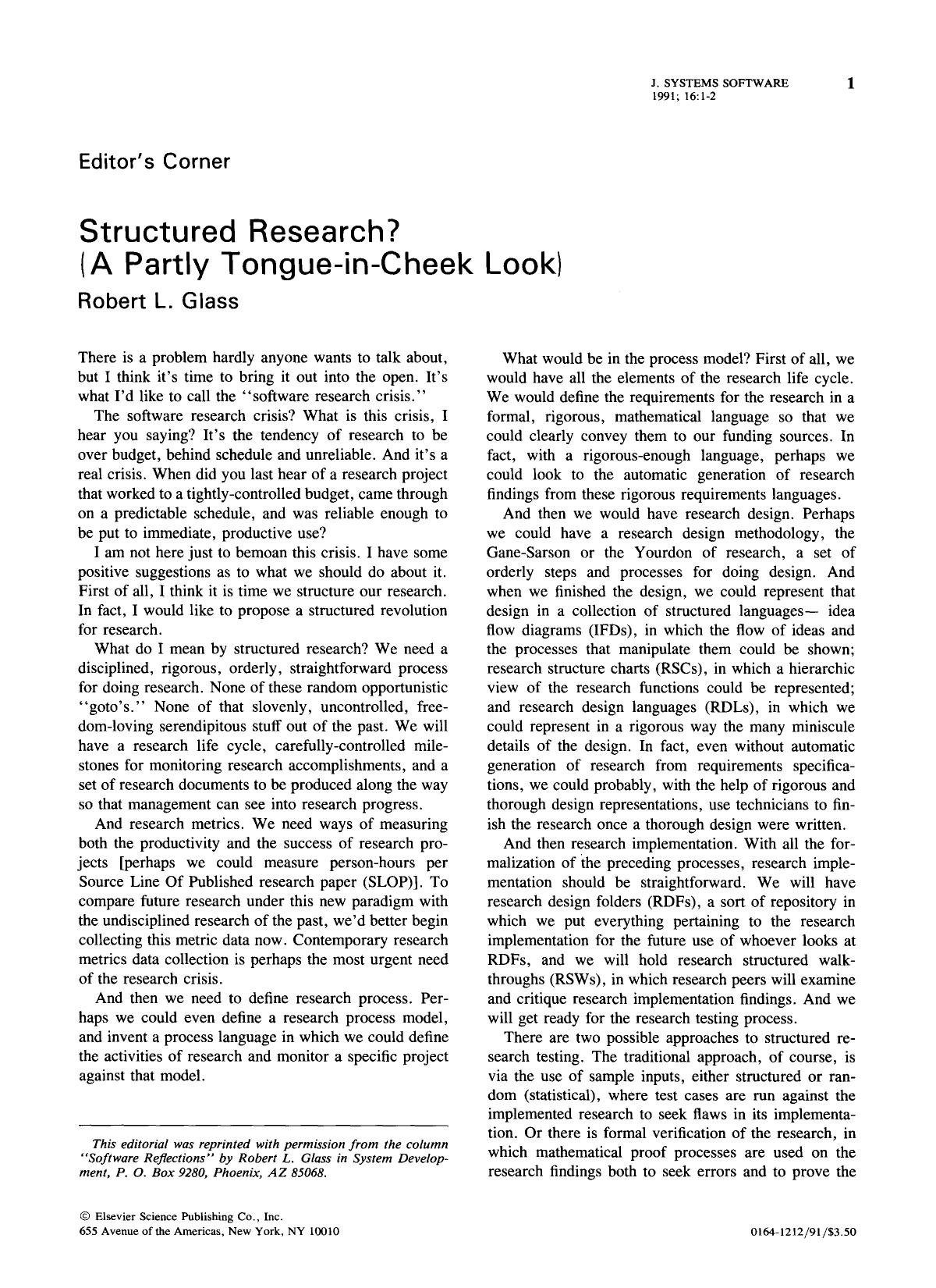 書籍の表紙 Editor's corner: Structured research? (A partly tongue-in-cheek look)