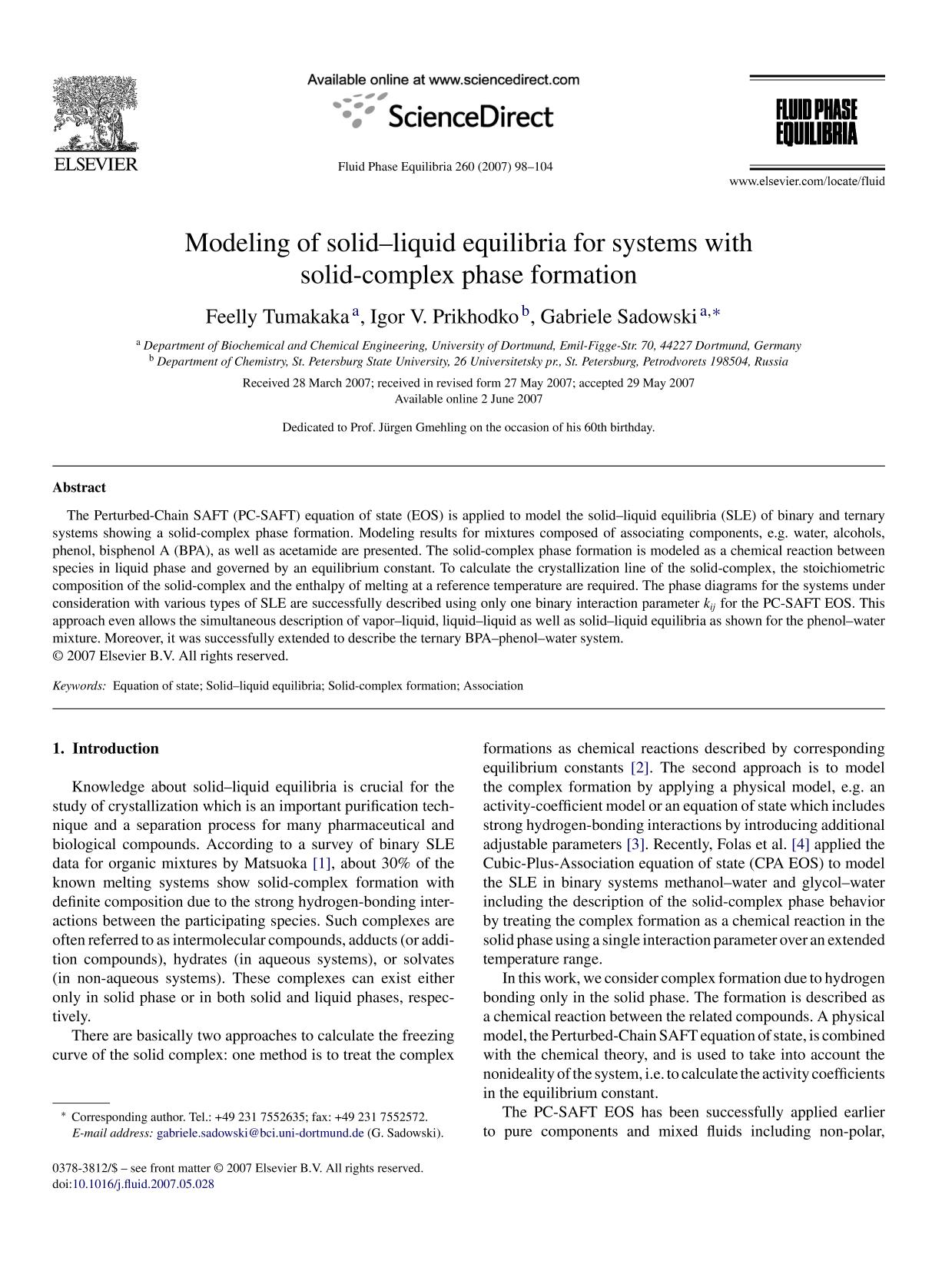 Обложка книги Modeling of solid–liquid equilibria for systems with solid-complex phase formation