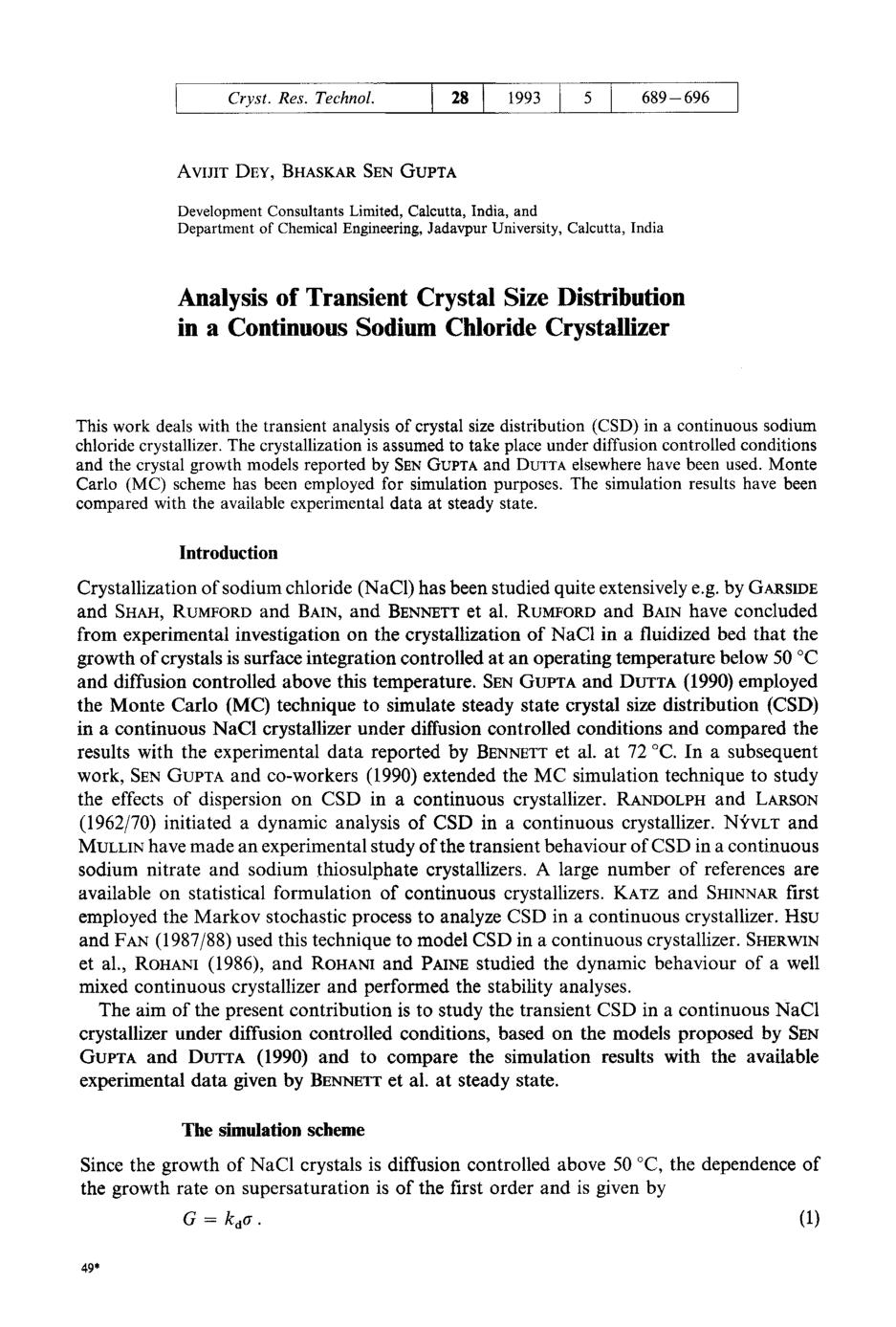 Kover buku Analysis of Transient Crystal Size Distribution in a Continuous Sodium Chloride Crystallizer