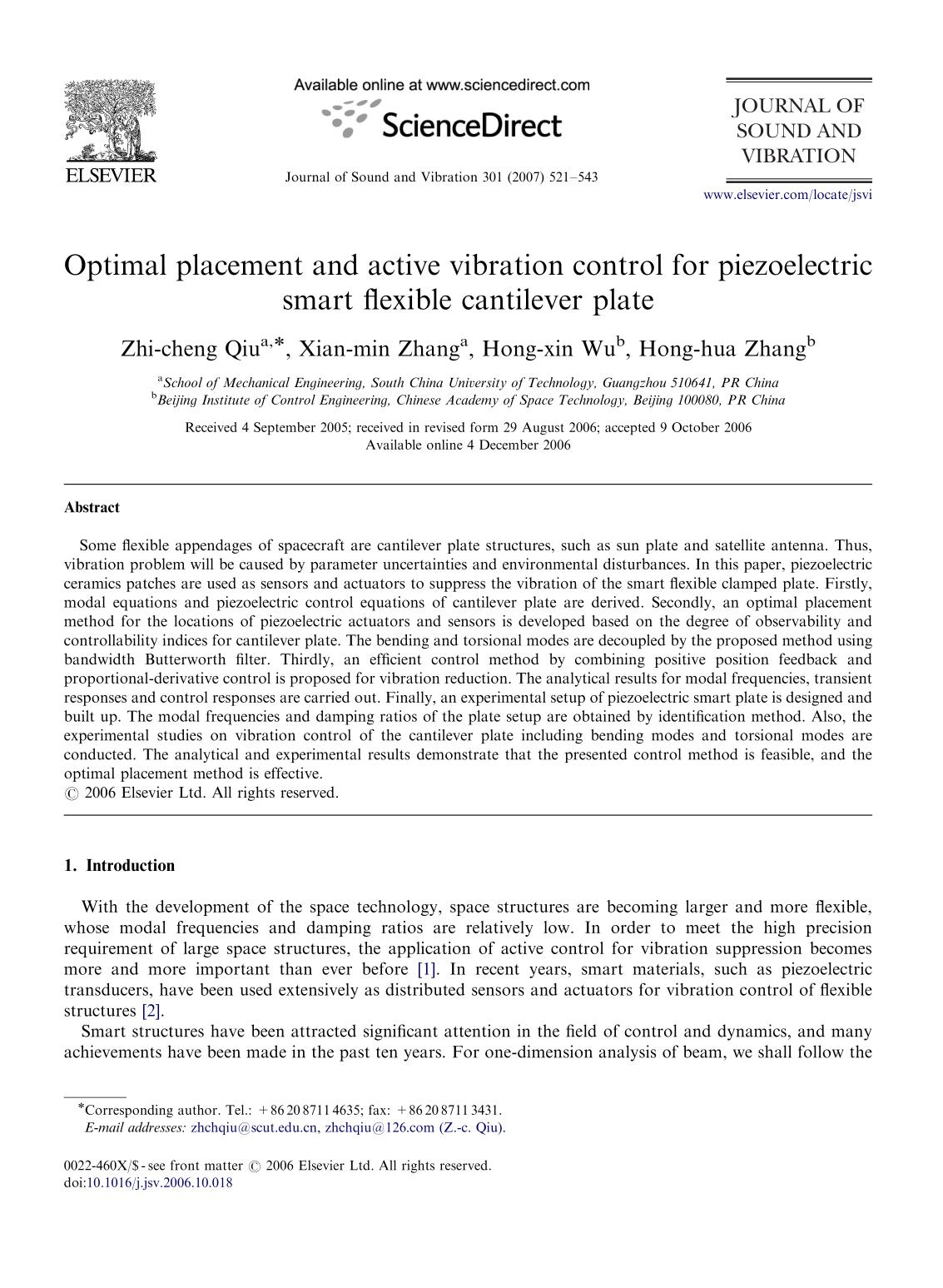 capa de livro Optimal placement and active vibration control for piezoelectric smart flexible cantilever plate