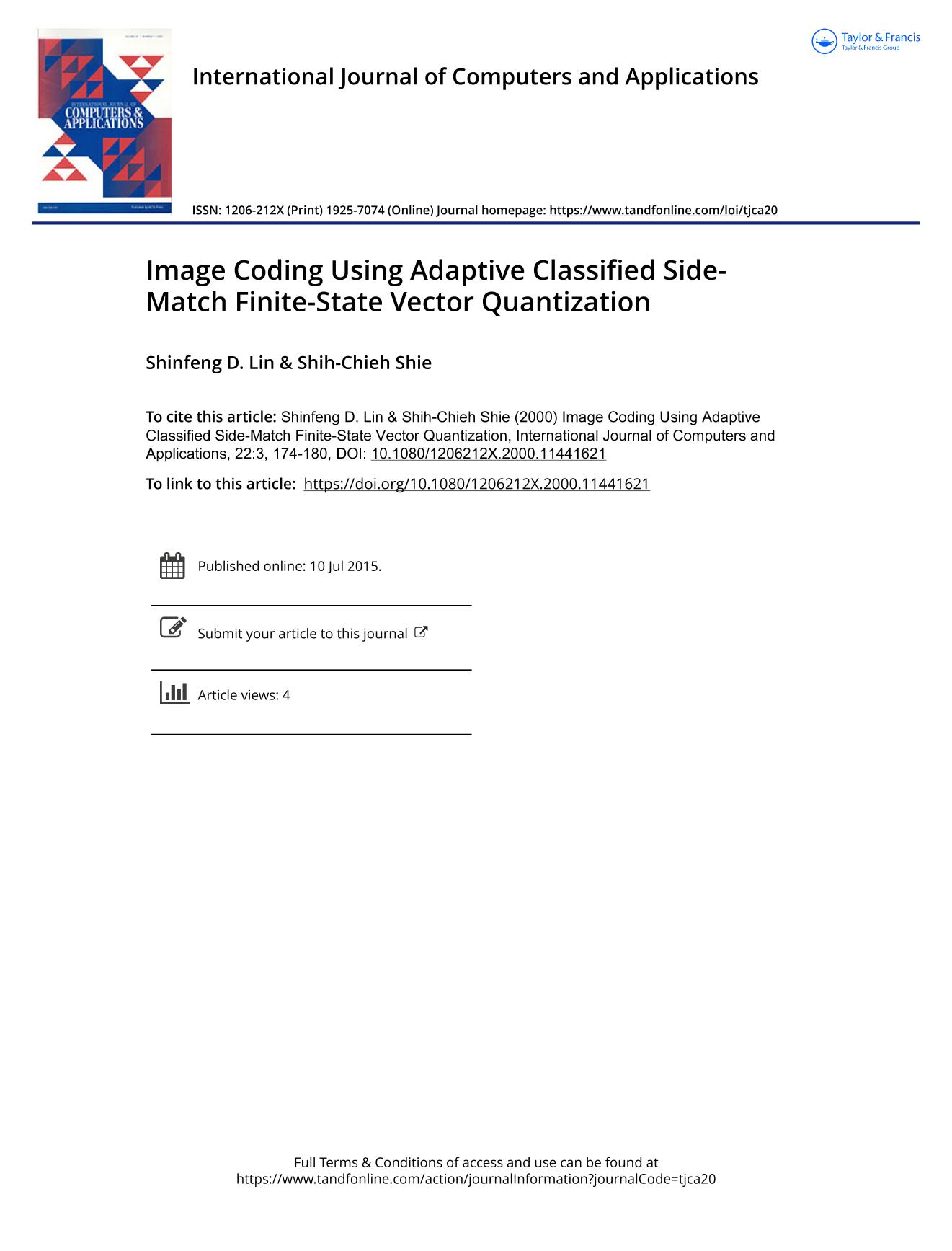Portada del libro Image Coding Using Adaptive Classified Side-Match Finite-State Vector Quantization