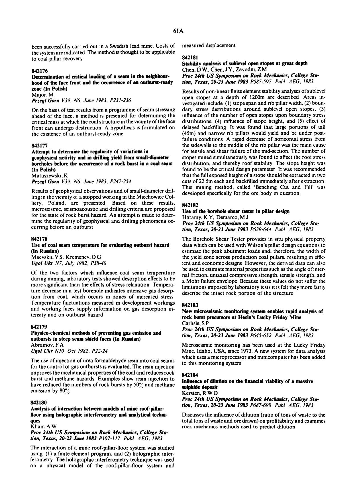 Sampul buku Use of the borehole shear tester in pillar design : Haramy, K Y; Demarco, M J Proc 24th US Symposium on Rock Mechanics, College Station, Texas, 20–23 June 1983P639–644. Publ: AEG, 1983