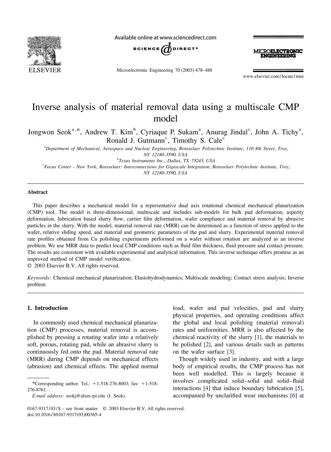 Kulit buku Inverse analysis of material removal data using a multiscale CMP model
