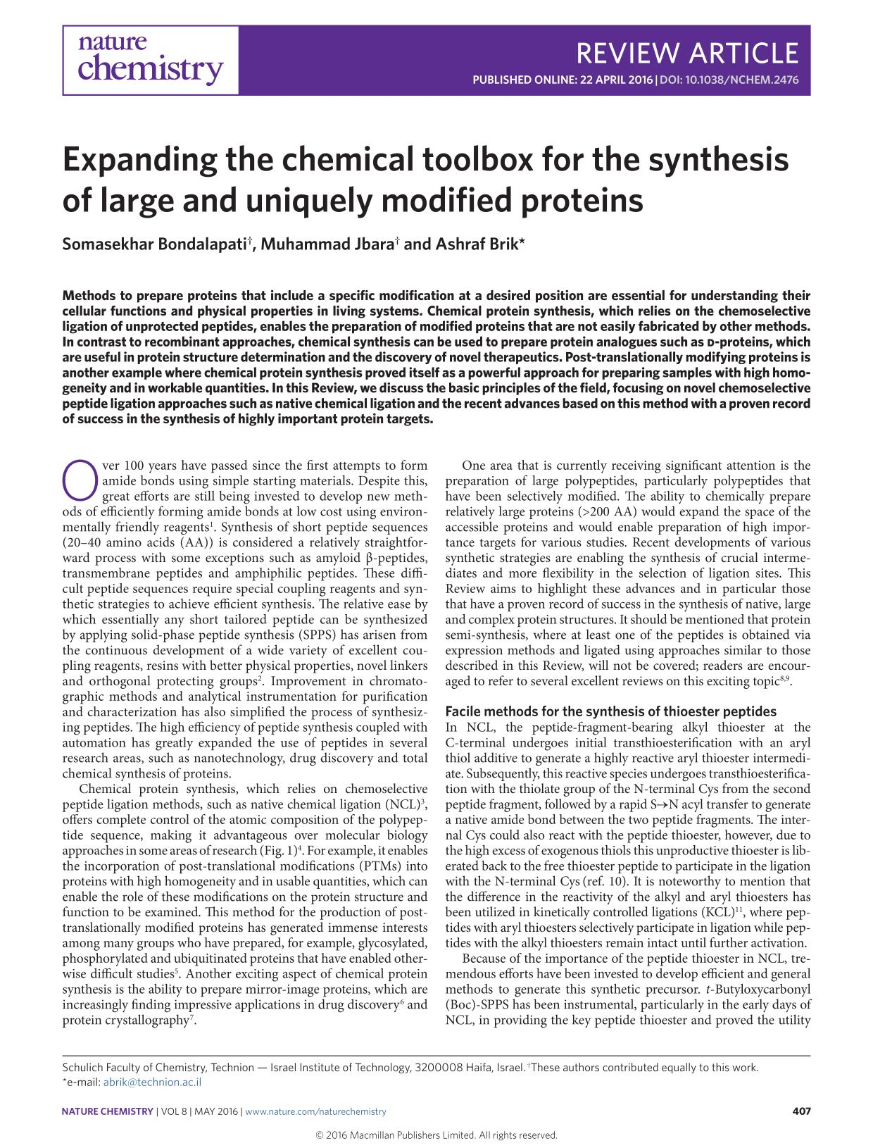 Portada del libro Expanding the chemical toolbox for the synthesis of large and uniquely modified proteins