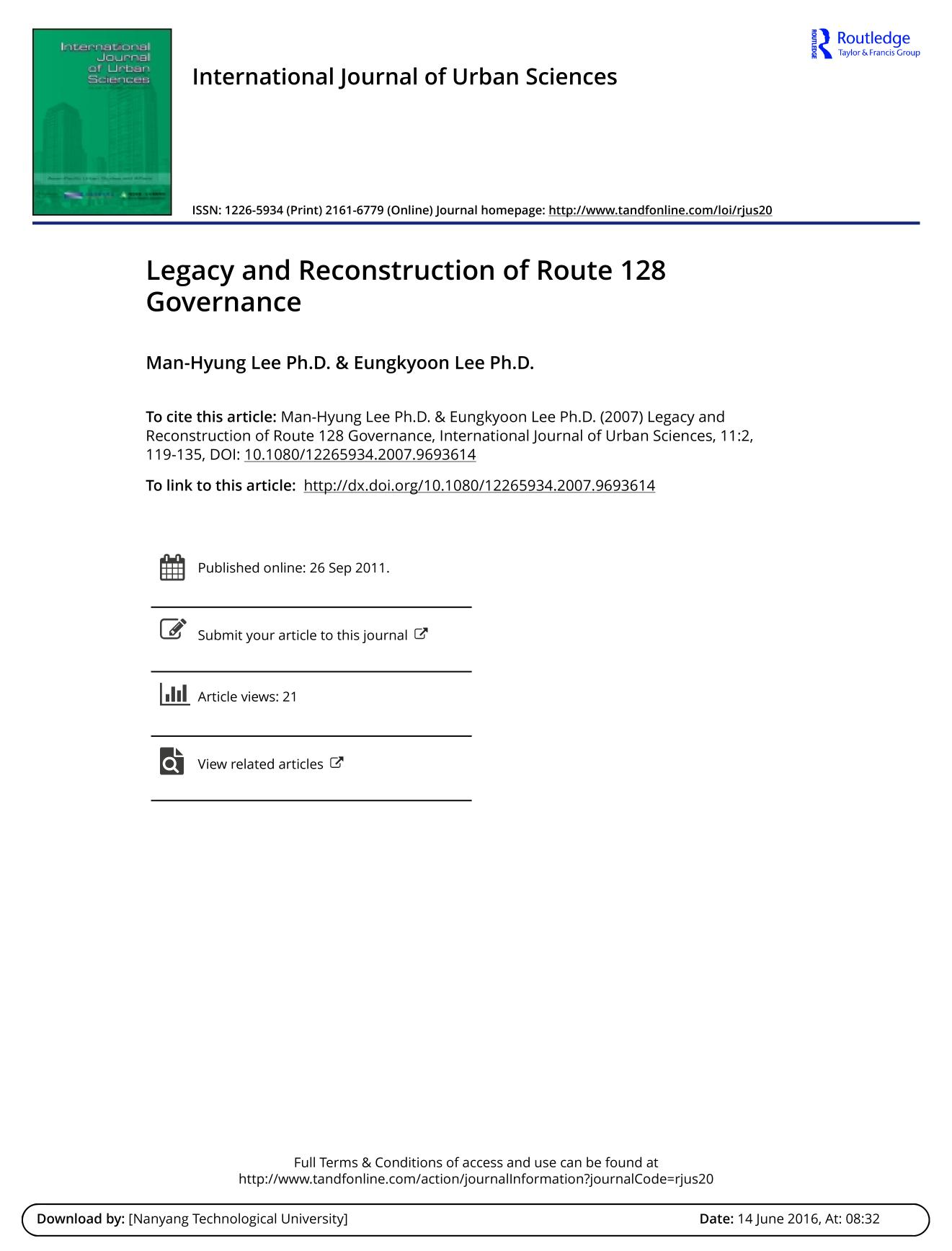పుస్తక అట్ట Legacy and Reconstruction of Route 128 Governance