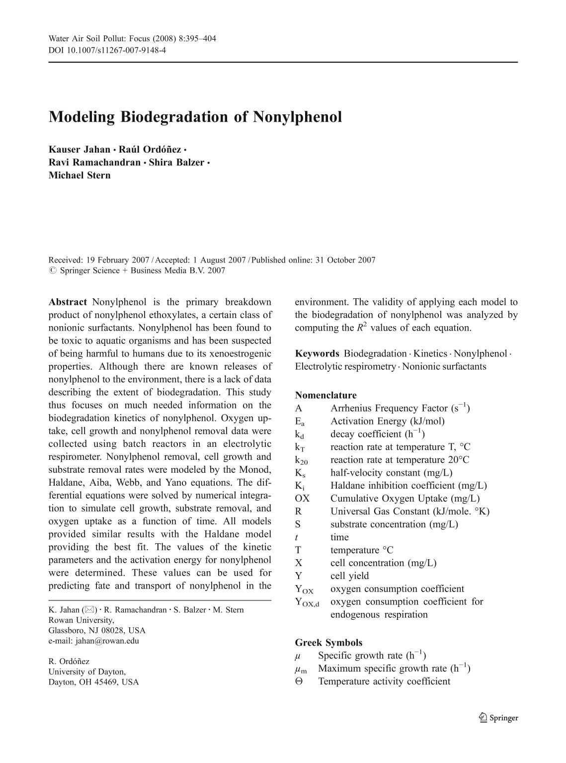 पुस्तक आवरण Modeling Biodegradation of Nonylphenol