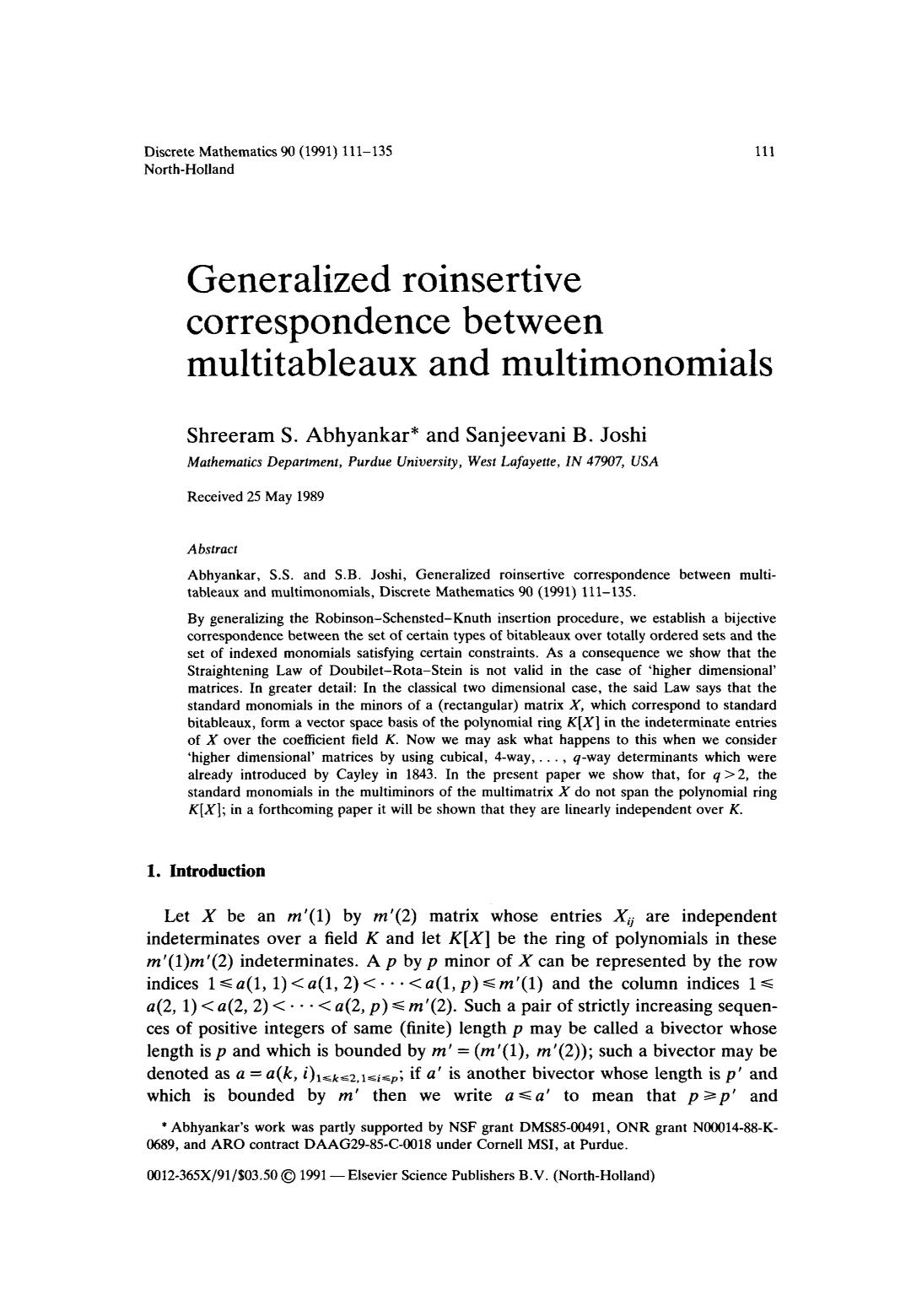表紙 Generalized roinsertive correspondence between multitableaux and multimonomials