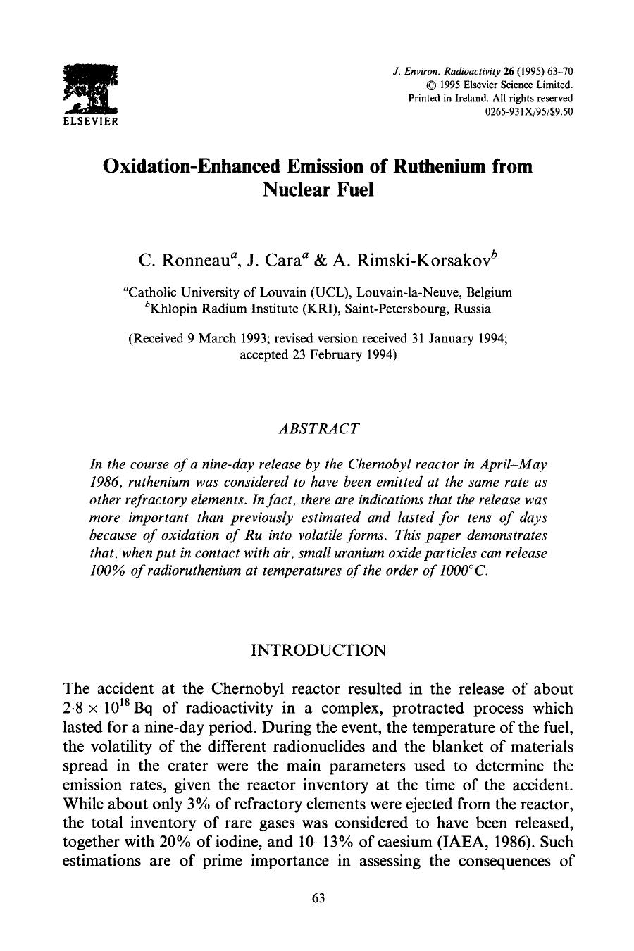 Book cover Oxidation-enhanced emission of ruthenium from nuclear fuel