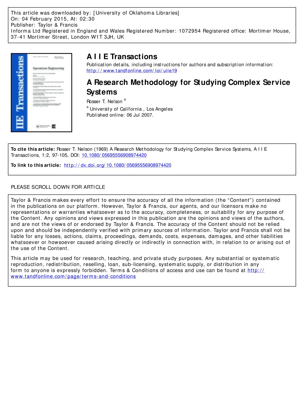 Обкладинка книги A Research Methodology for Studying Complex Service Systems