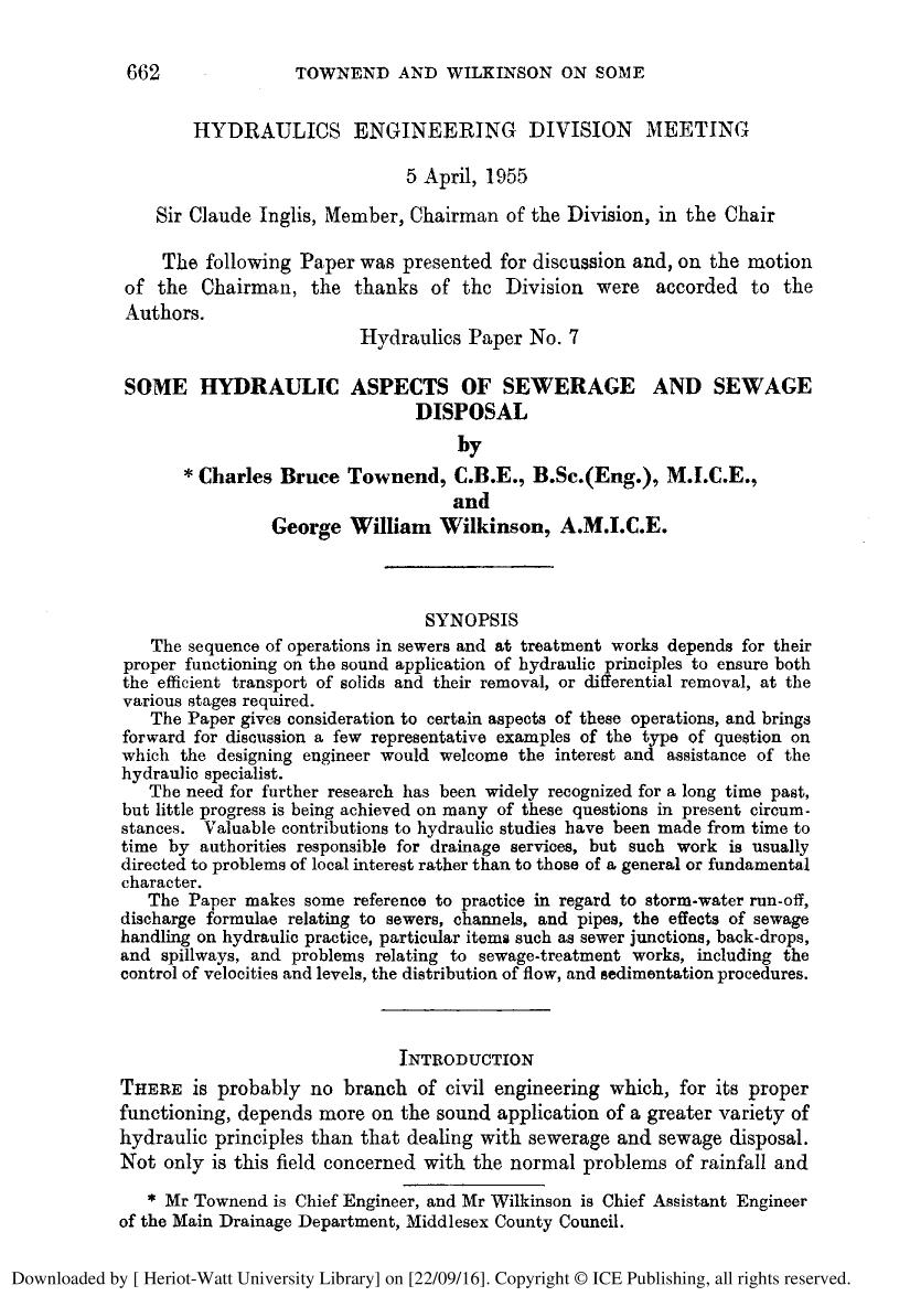 Εξώφυλλο βιβλίου SOME HYDRAULIC ASPECTS OF SEWERAGE AND SEWAGE DISPOSAL.