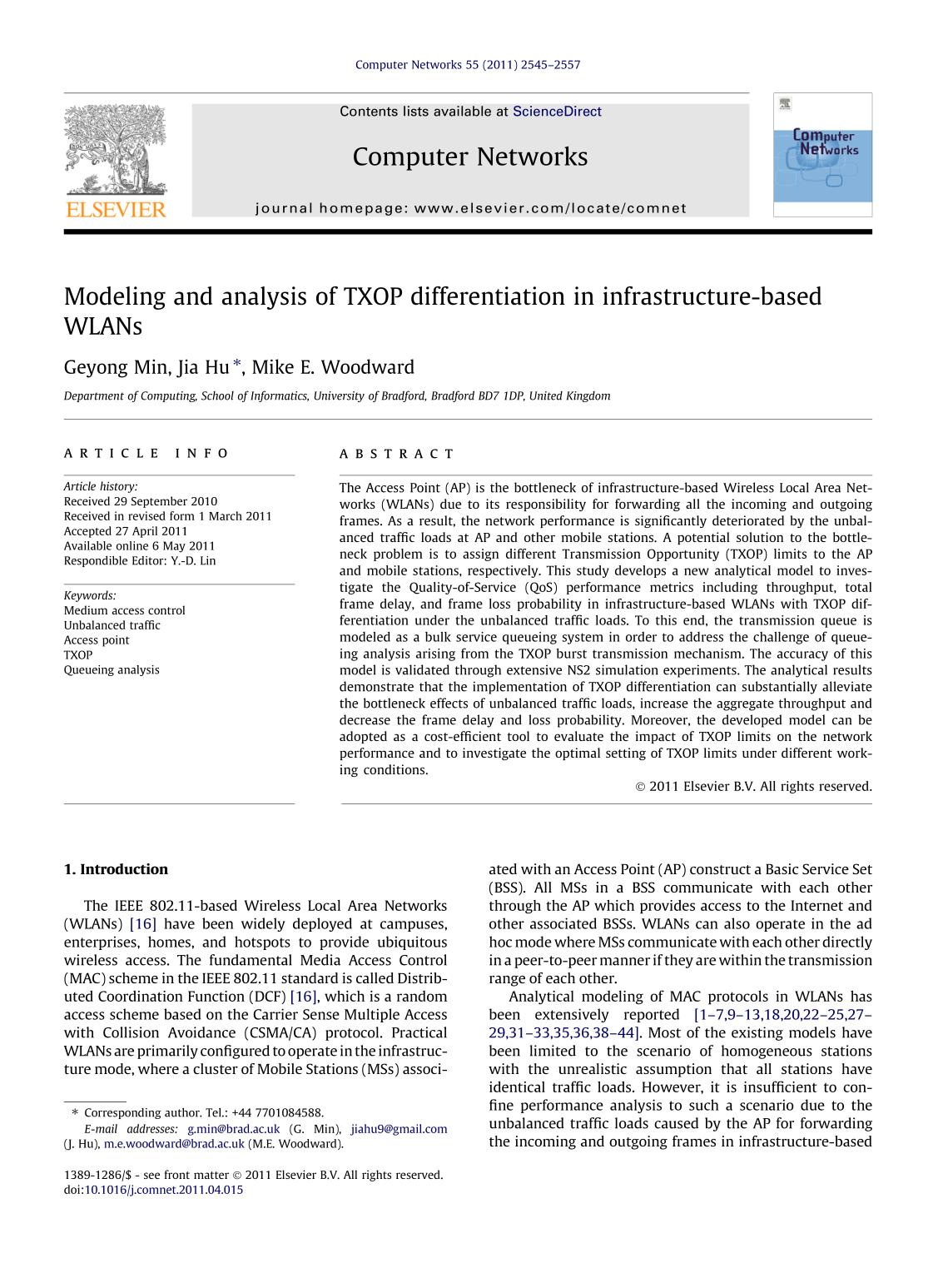 Book cover Modeling and analysis of TXOP differentiation in infrastructure-based WLANs