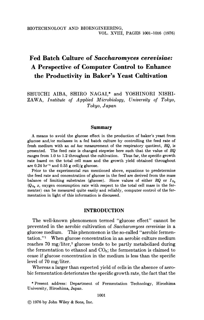 Обложка книги Fed batch culture of <em>Saccharomyces cerevisiae</em>: A perspective of computer control to enhance the productivity in baker's yeast cultivation