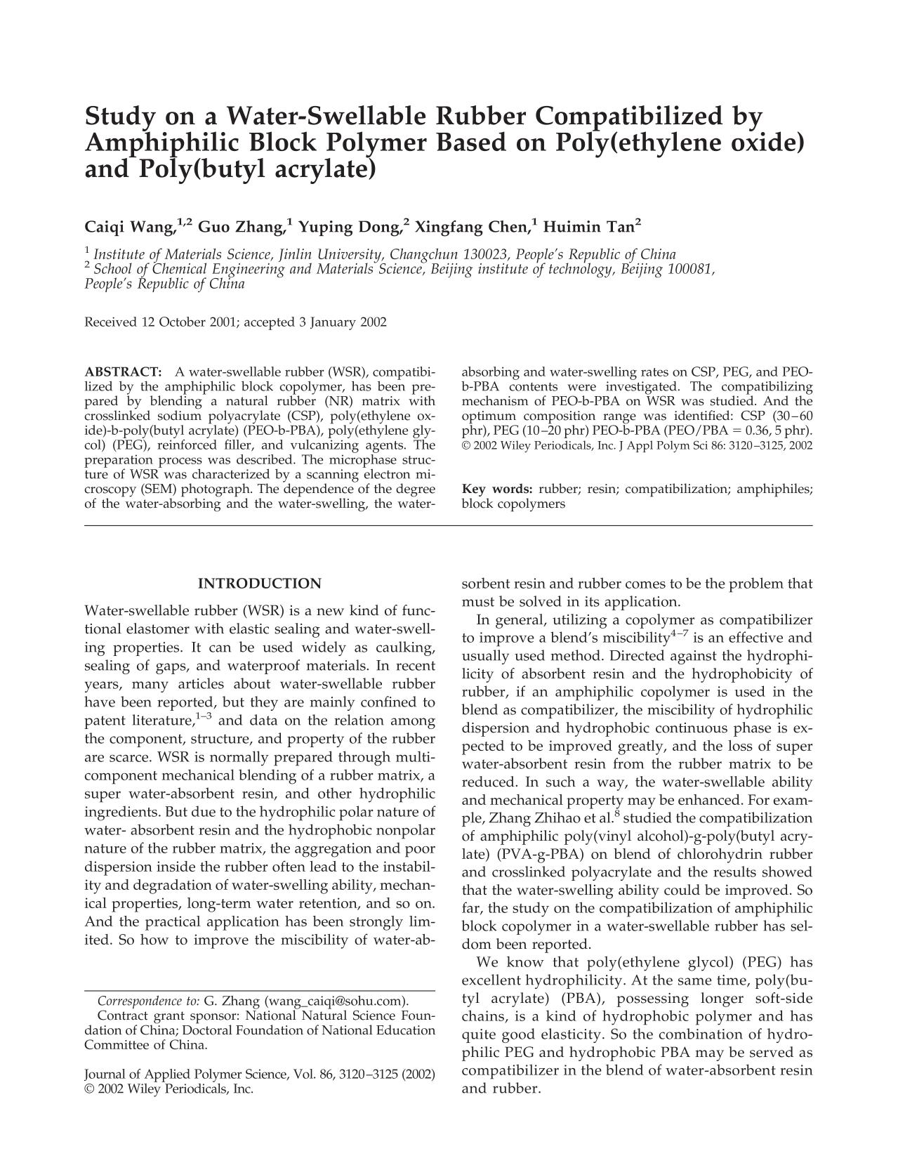 Book cover Study on a water-swellable rubber compatibilized by amphiphilic block polymer based on poly(ethylene oxide) and poly(butyl acrylate)
