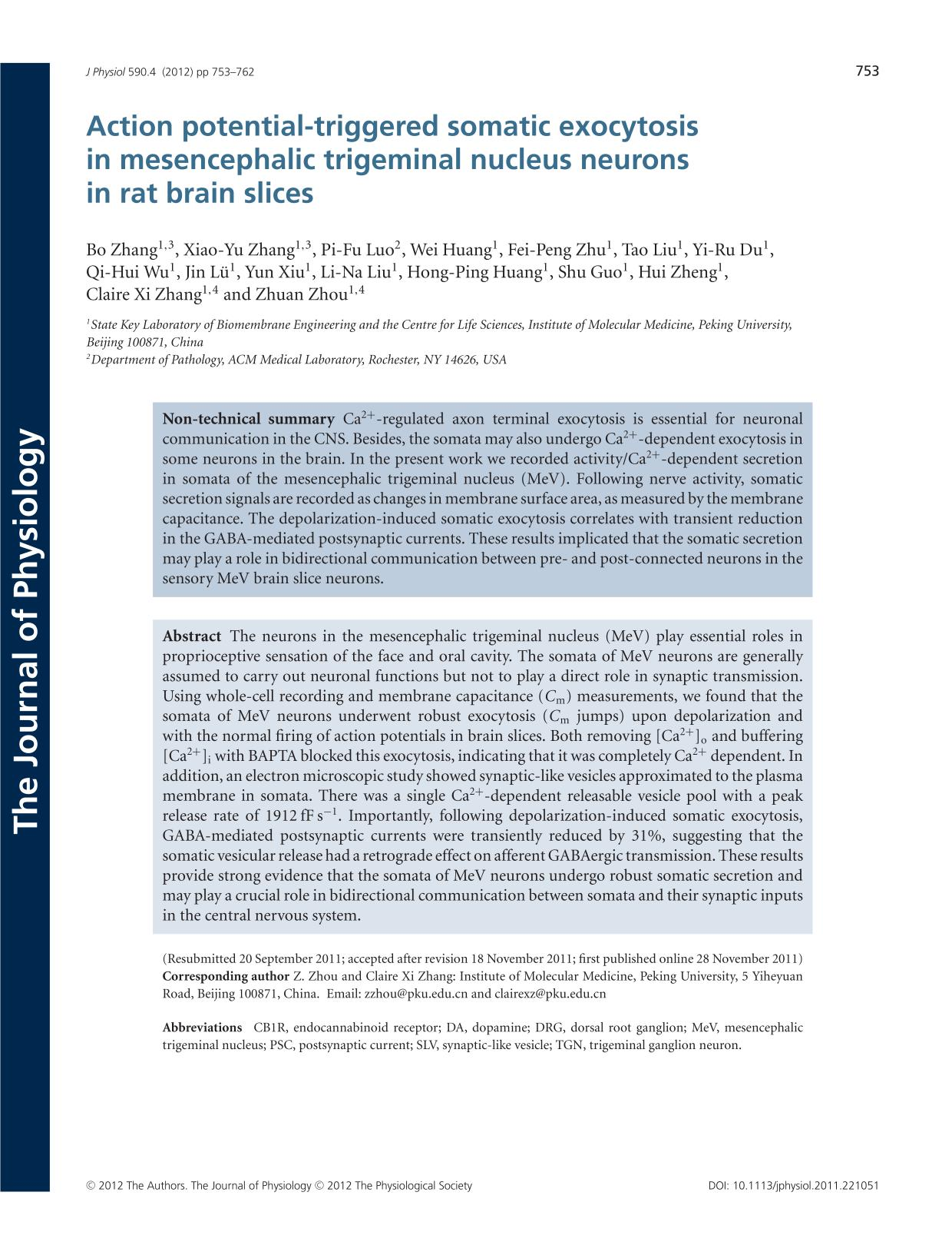 Book cover Action potential-triggered somatic exocytosis in mesencephalic trigeminal nucleus neurons in rat brain slices