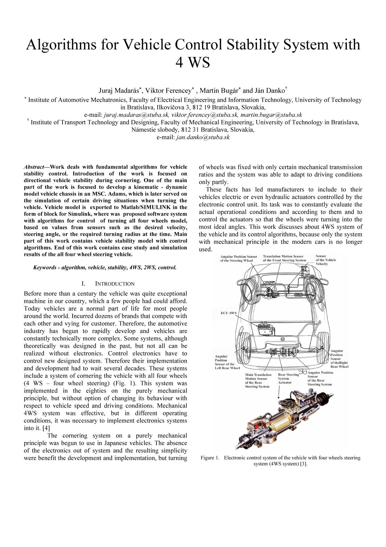 Portada del libro  [IEEE 2014 16th International Conference on Mechatronics - Mechatronika (ME) - Brno, Czech Republic (2014.12.3-2014.12.5)] Proceedings of the 16th International Conference on Mechatronics - Mechatronika 2014 - Algorithms for vehicle control stability system with 4 WS