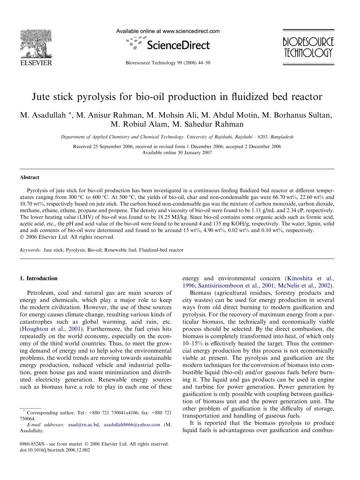 Обкладинка книги Jute stick pyrolysis for bio-oil production in fluidized bed reactor