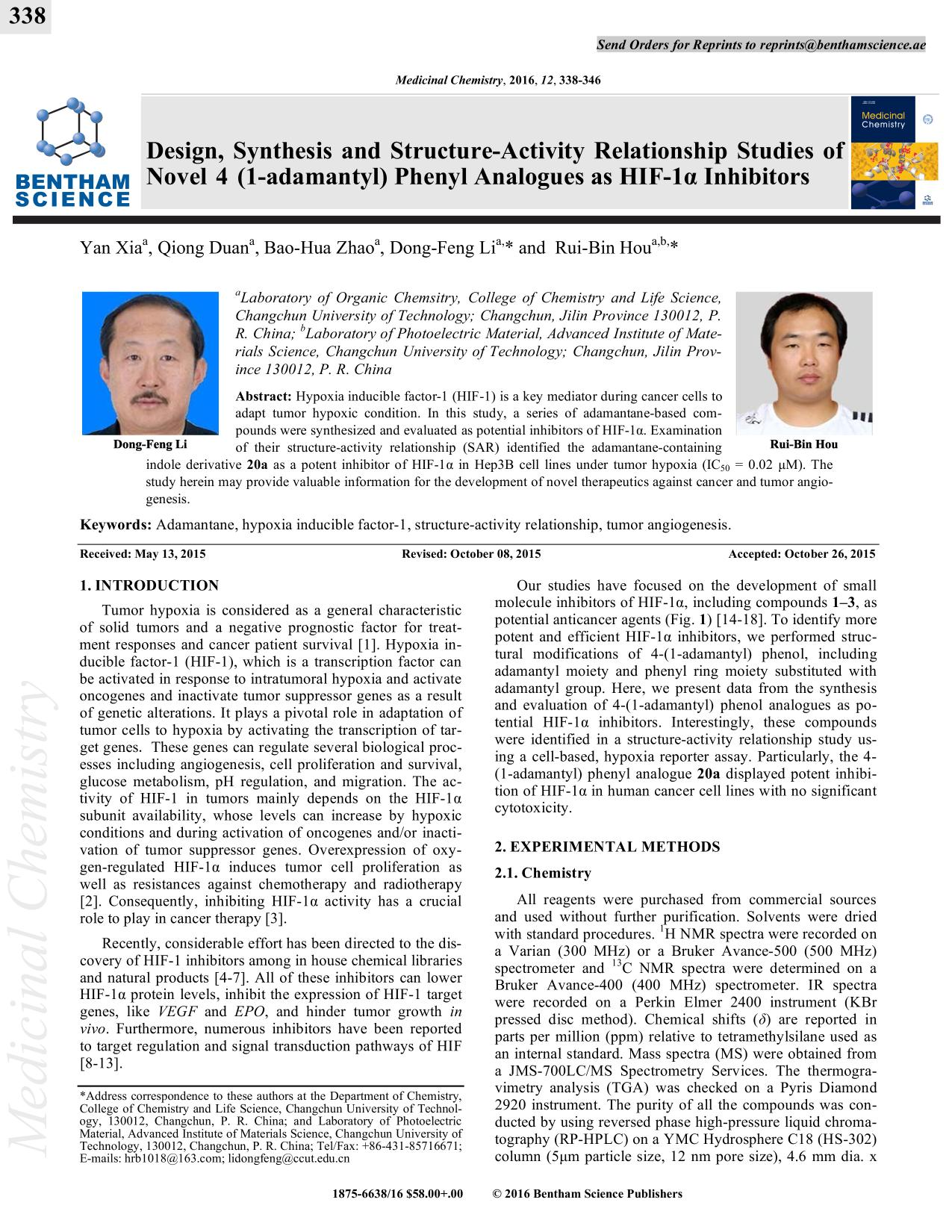 Okładka książki Synthesis and Structure-Activity Relationship Studies of Novel 4 (1-adamantyl) Phenyl Analogues as HIF-1α Inhibitors