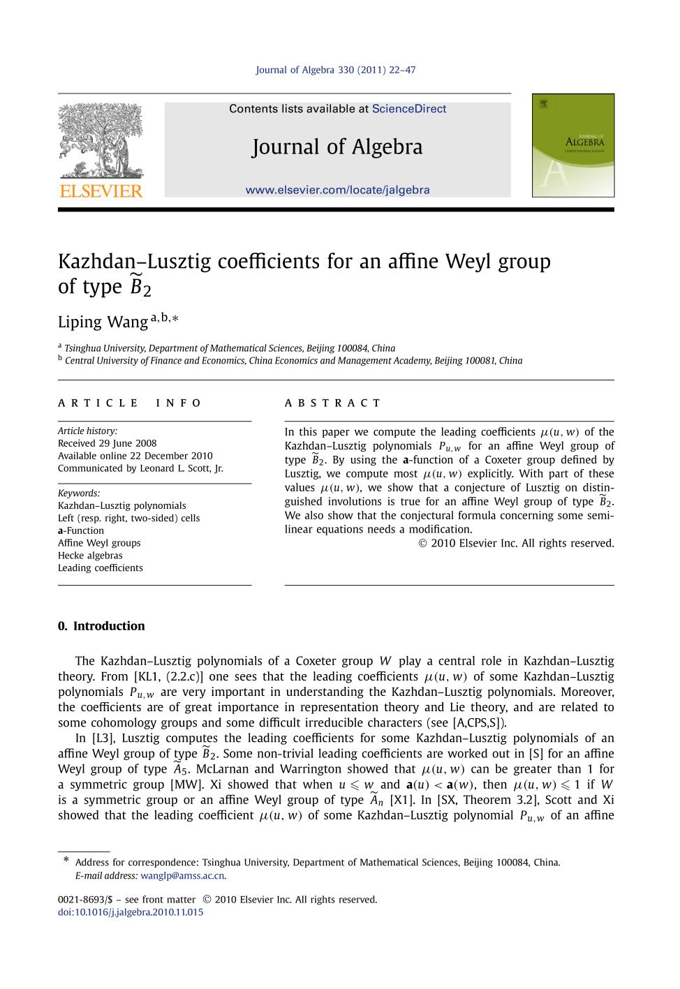 Copertina Kazhdan–Lusztig coefficients for an affine Weyl group of type