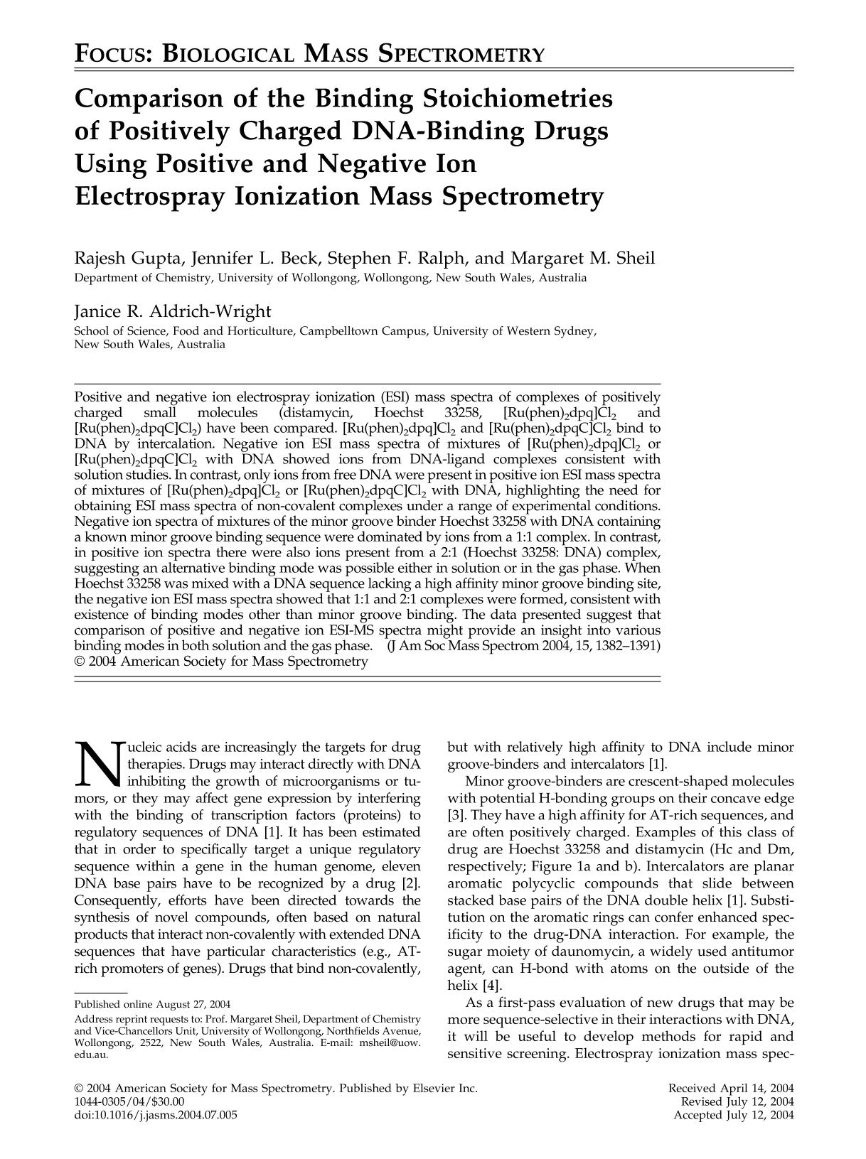 पुस्तक कवर Comparison of the binding stoichiometries of positively charged DNA-Binding drugs using positive and negative ion electrospray ionization mass spectrometry
