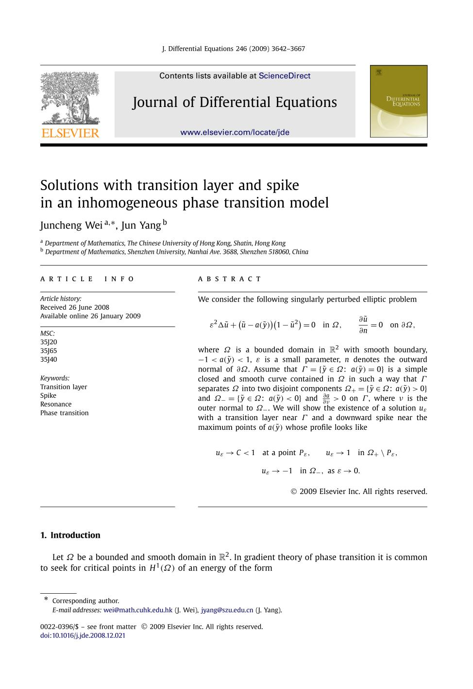 Sampul buku Solutions with transition layer and spike in an inhomogeneous phase transition model