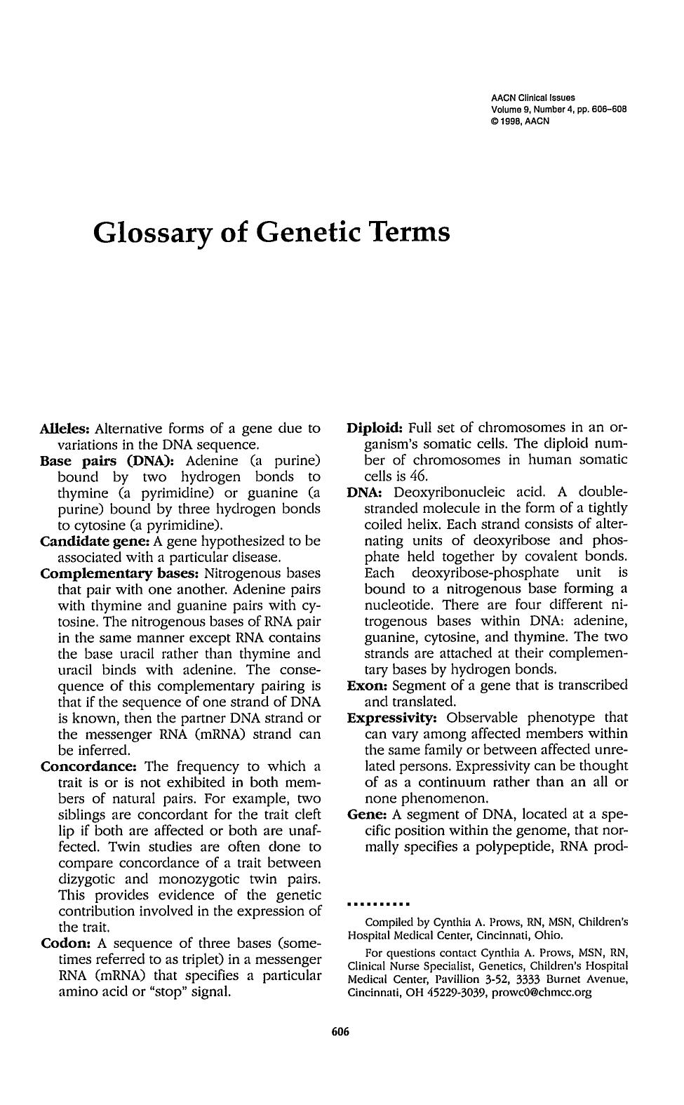 Couverture Glossary of Genetic Terms