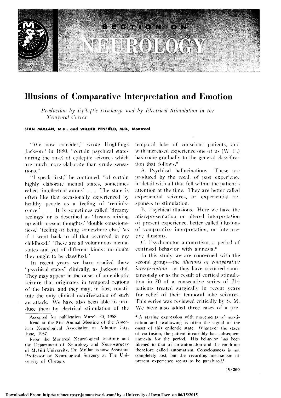 Couverture Illusions of Comparative Interpretation and Emotion