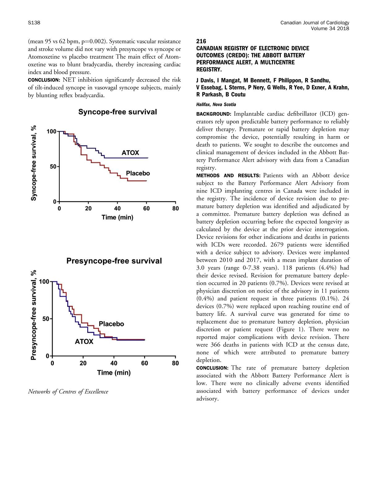 Book cover CANADIAN REGISTRY OF ELECTRONIC DEVICE OUTCOMES (CREDO): THE ABBOTT BATTERY PERFORMANCE ALERT, A MULTICENTRE REGISTRY.