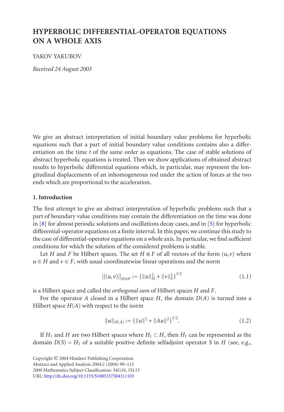 Book cover Hyperbolic differential-operator equations on a whole axis
