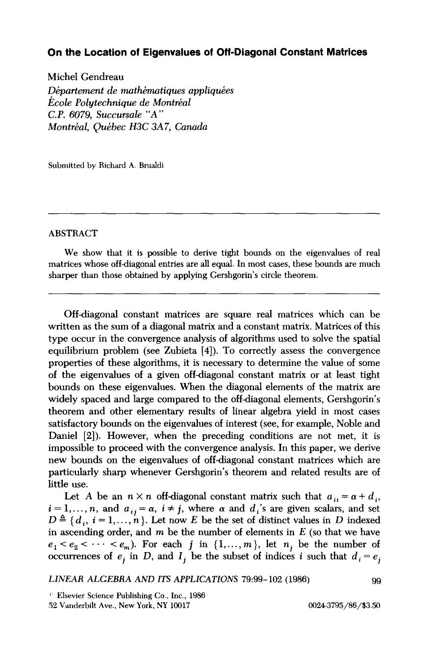 A capa do livro On the location of eigenvalues of off-diagonal constant matrices